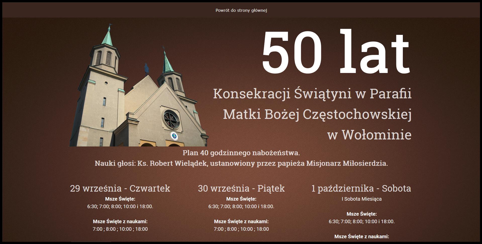 Jubileuszowa strona parafii Matki Bożej Częstochowskiej