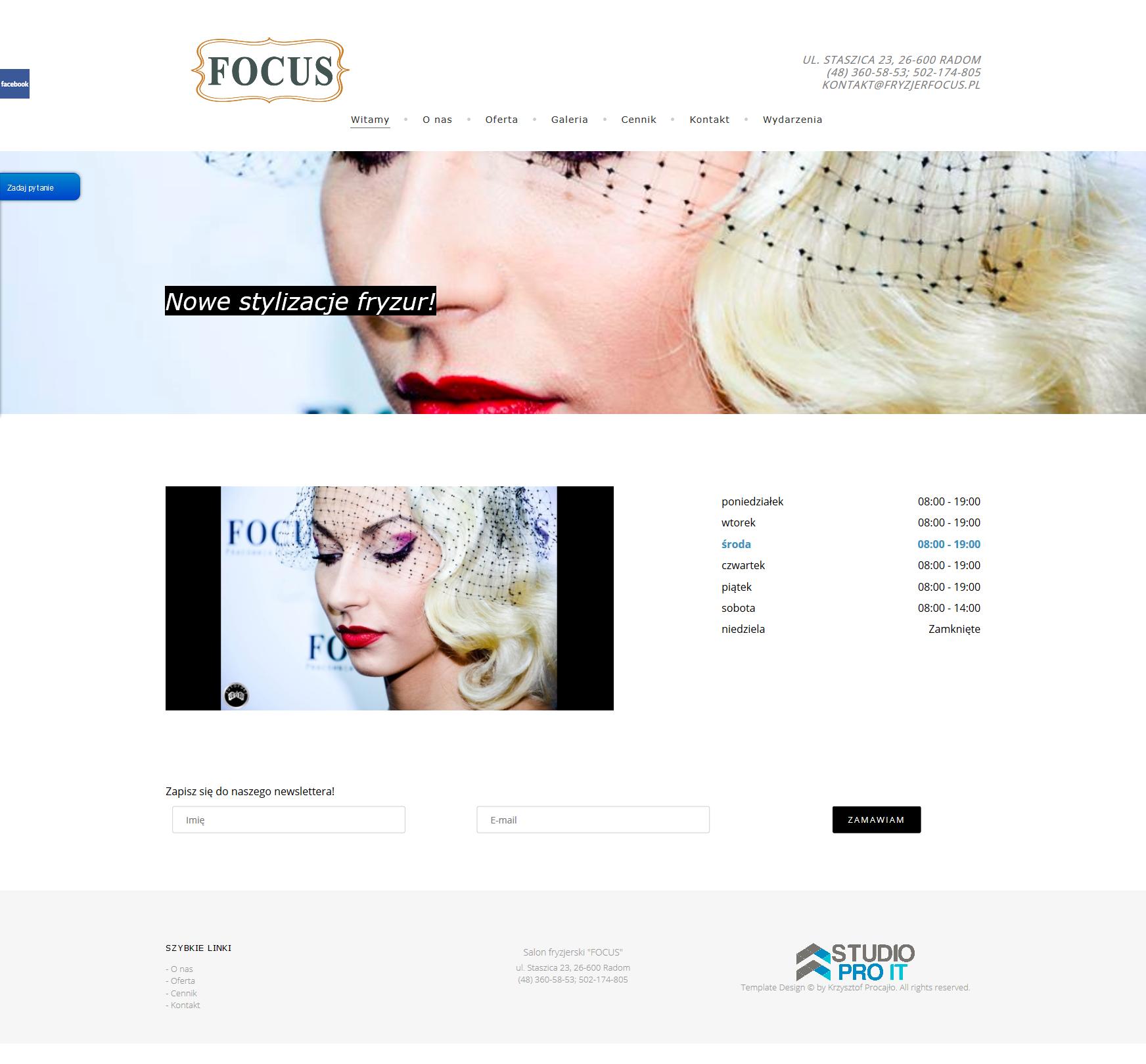 Strona internetowa salonu fryzjerskiego Focus Radom