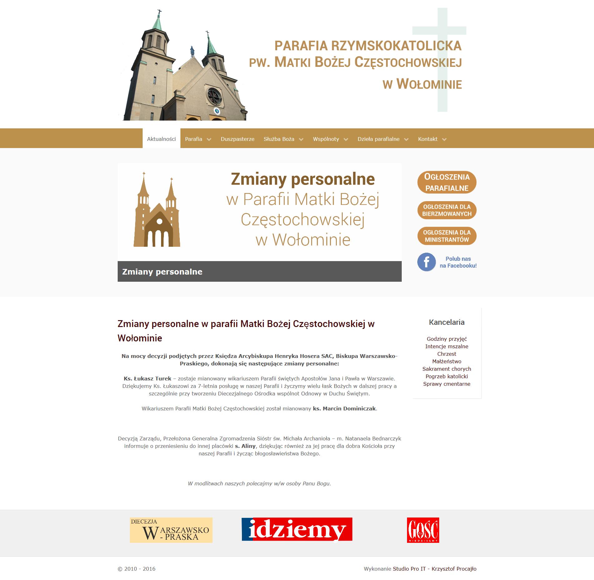 Strona internetowa parafii Matki Bożej Częstochowskiej w Wołominie
